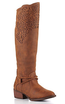 Very G Women's Tan Faux Leather Tall Riding Boot