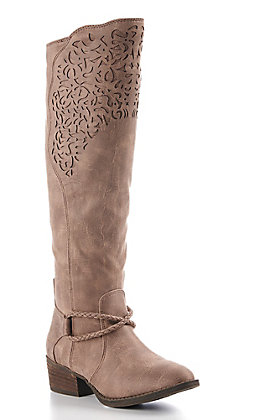 Very G Women's Taupe Faux Leather Tall Riding Boot