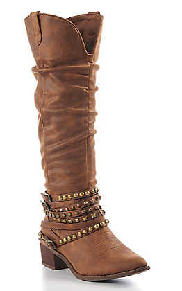 Very G Women's Tan Studded Tall Fashion Boots