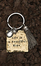 Amber's Allie Gold with Life is a Beautiful Ride Key Chain
