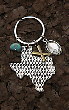Amber's Allie Silver Texas Shape X Engraved Pattern Key Chain