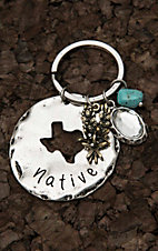 Amber's Allie Silver Circle Plate with Texas Cut Out Key Chain
