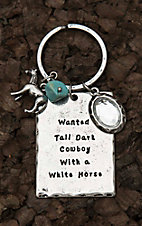 Amber's Allie Silver with Wanted Tall Dark Cowboy with a White Horse Key Chain