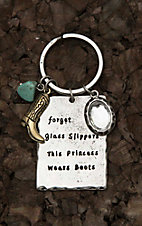 Amber's Allie Silver with Forget Glass Slippers This Princess Wears Boots Key Chain