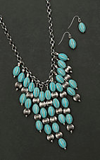 Amber's Allie Silver with Turquoise and Silver Beading Necklace and Earring Jewelry Set