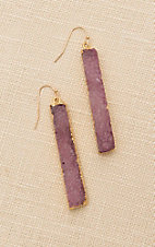 Amber's Allie Gold with Pink Stone Dangle Earrings