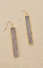 Amber's Allie Gold with White Stone Dangle Earrings