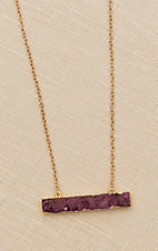 Amber's Allie Gold with Pink Pendant Necklace