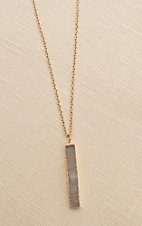 Amber's Allie Gold with White Pendant Necklace