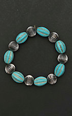 Amber's Allie Silver and Turquoise Beaded Elastic Bracelet