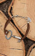 Amber's Allie Brown Leather with Vintage Key Chain Bracelet