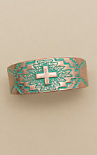 Amber's Allie Patina Copper Aztec Cross Cuff Bracelet