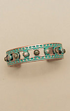 Amber's Allie Patina Copper with Green Beads Skinny Cuff Bracelet