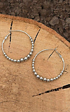 Amber's Allie Silver with Beads Hoop Earrings