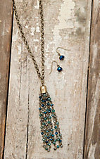 Amber's Allie Gold with Turquoise Beaded Tassel Necklace and Earring Jewelry Set