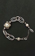 Amber's Allie Silver Chain and Pearl Bracelet