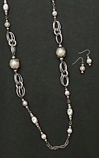 Amber's Allie Silver with Pearl Beading Necklace and Earring Jewelry Set