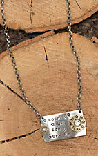 Amber's Allie Silver with Protected by God and Gun Powder Plate Chain Necklace