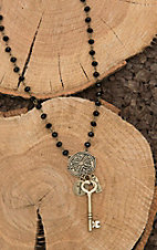 Amber's Allie Gold with Black Beading and Key Pendant Necklace