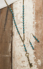 Amber's Allie Gold with Turquoise Beading Necklace and Earring Jewelry Set