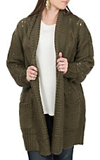 Vine and Love Women's Olive Knit Long Sleeve Cardigan
