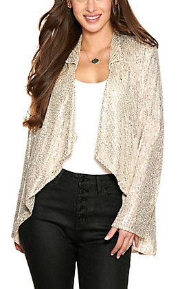 Vine & Love Women's Taupe Sequin Long Sleeve Jacket
