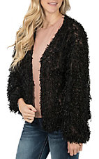 Vine and Love Women's Black  Fuzzy Jacket