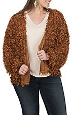 Vine and Love Women's Rust Fuzzy Cardigan