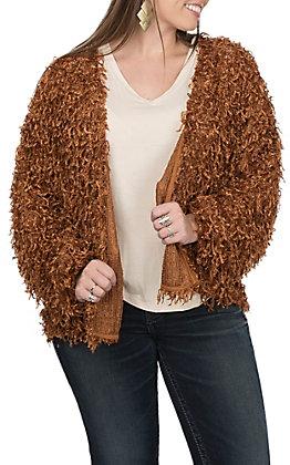 Vine and Love Women's Rust Fuzzy Cardigan