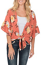 Vine and Love Women's Floral Rust Kimono