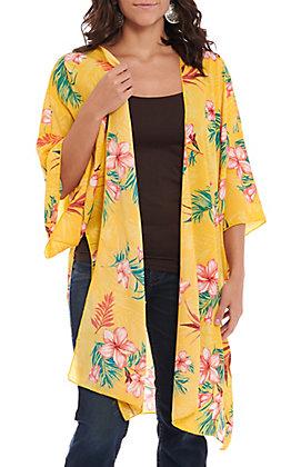 Vine & Love Yellow Floral Print Tie Front Kimono
