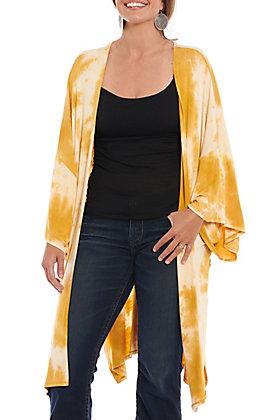 Vine & Love Women's Mustard Tie Dye Kimono