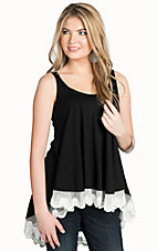 Vintage Havana Women's Black Lace Hem Tank Top