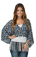 Vintage Havana Women's Navy & Ivory Floral with Fringe Kimono Top