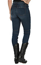Miss Me Vintage Women's Dark Wash Biker Design Open Pocket Skinny Jeans