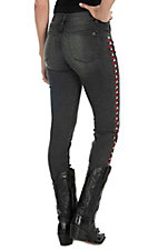 Miss Me Vintage Women's Black Wash Biker Design Open Pocket Skinny Jeans