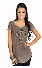 Velvet Stone Women's Velvet Smoke with Cheetah Cross Short Sleeve Tee