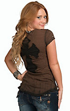 Velvet Stone Womens Bronze Spike Sleeve Top