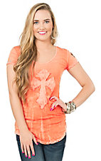 Velvet Stone Women's Orange with Cross Cap Sleeve Casual Knit Top