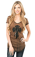 Velvet Stone Women's Brown with Black Burnout and Black Cross Cap Sleeve Casual Knit Top