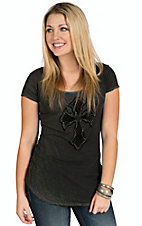 Velvet Stone Women's Charcoal with Black Velvet Embroidered Cross Short Sleeve Tee