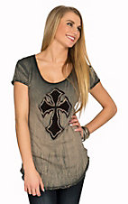 Velvet Stone Women's Light Black with Maroon Embroidered Cross Short Sleeve Tee
