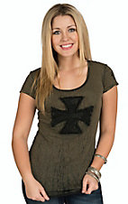 Velvet Stone Women's Sage with Black Diamond Vail Lace Cross Short Sleeve Tee
