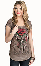 Velvet Stone Women's Smoke Pistol and Rose Top