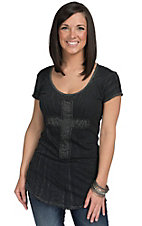 Velvet Stone Women's Crinkle Black with Diamond Punk Cross Short Sleeve Tee