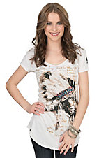 Velvet Stone Women's Cream Chief Pristine with Rhinestones Short Sleeve Top