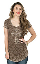 Velvet Stone Women's Abalone Cheetah Print with Iridescent Rhinestone Cross Short Sleeve Casual Knit Top