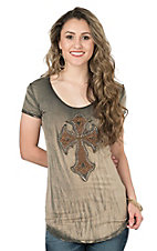Velvet Stone Women's Light Black with Leather Cross Cap Sleeve Casual Knit Top