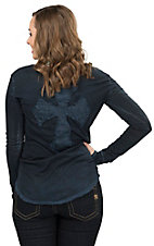 Velvet Stone Women's Phantom Blue Wash with Cross on Back Long Sleeve Tee