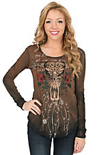 Velvet Stone Women's Vintage Bronze with Rhinestone Desperado Cow Skull & Roses Skull Long Sleeve Casual Knit Top